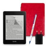 Комплект: eBook четец Kindle Paperwhite (2018), 8GB, Черен + Калъф Classic, Червен
