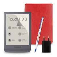 Комплект: eBook четец Pocketbook Touch HD 3, Сив + Калъф, Червен