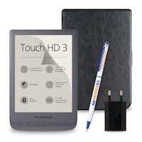 Комплект: eBook четец Pocketbook Touch HD 3, Сив + Калъф, Черен