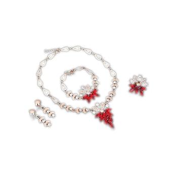 Kristályokkal kirakott divatos nyaklánc, fülbevaló, karkötő és gyűrű szett - piros