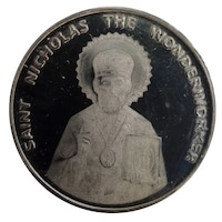 Монета от чисто сребро Свети. Николай Чудотворец, 1 долар Елизабет II , Ross Dependency. 2019 г.