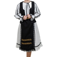 Costum popular femei , 5 piese, alb -marimea L