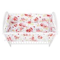 Babyneeds Ágynemű készlet, 5 darabos, 120x60 cm, Bagoly, Piros