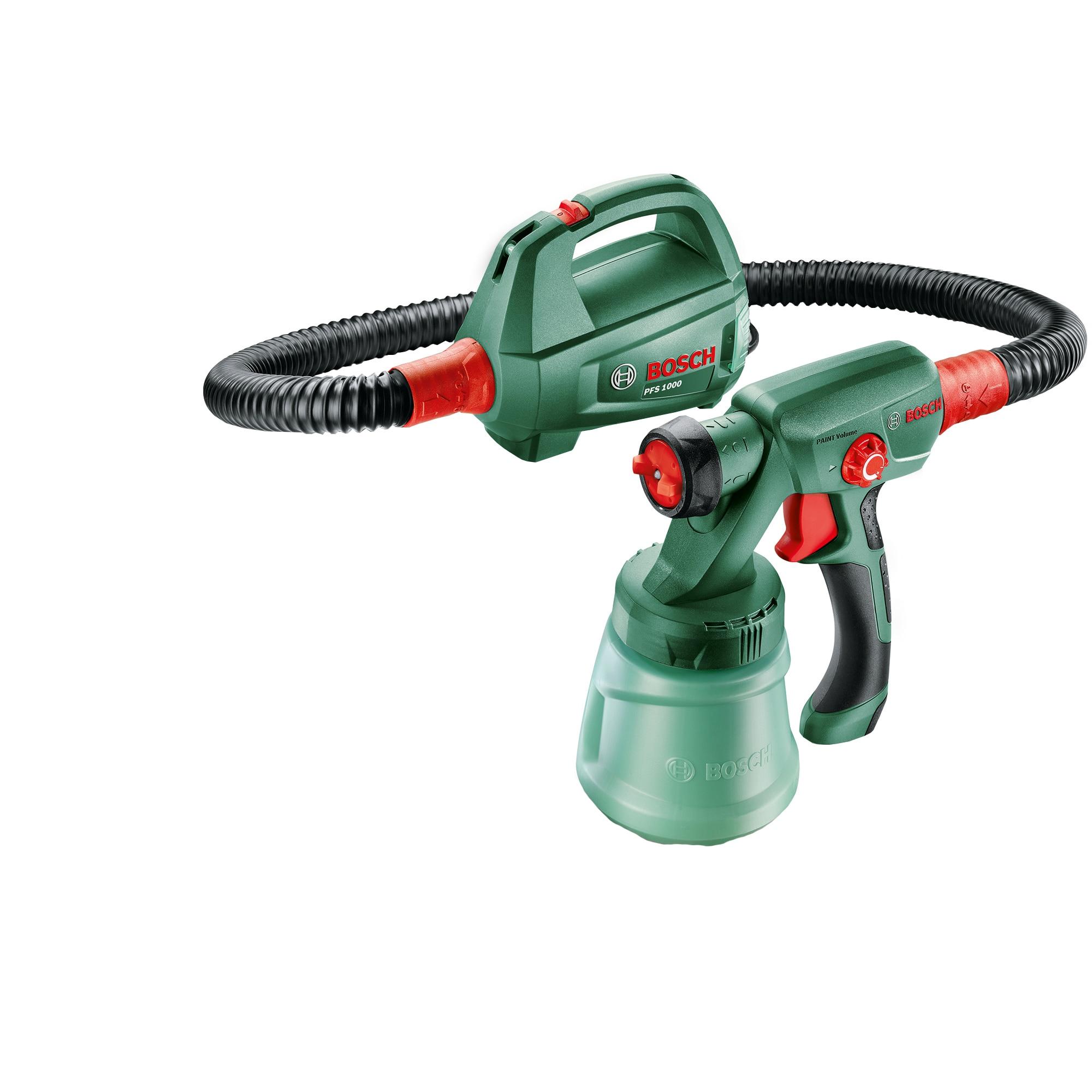 Fotografie Pistol de vopsit Bosch PFS 1000, 410 W, 800 ml capacitate rezervor, 100 ml/min capacitate pompare, 1.3 m lungime furtun + duza pentru vopsele