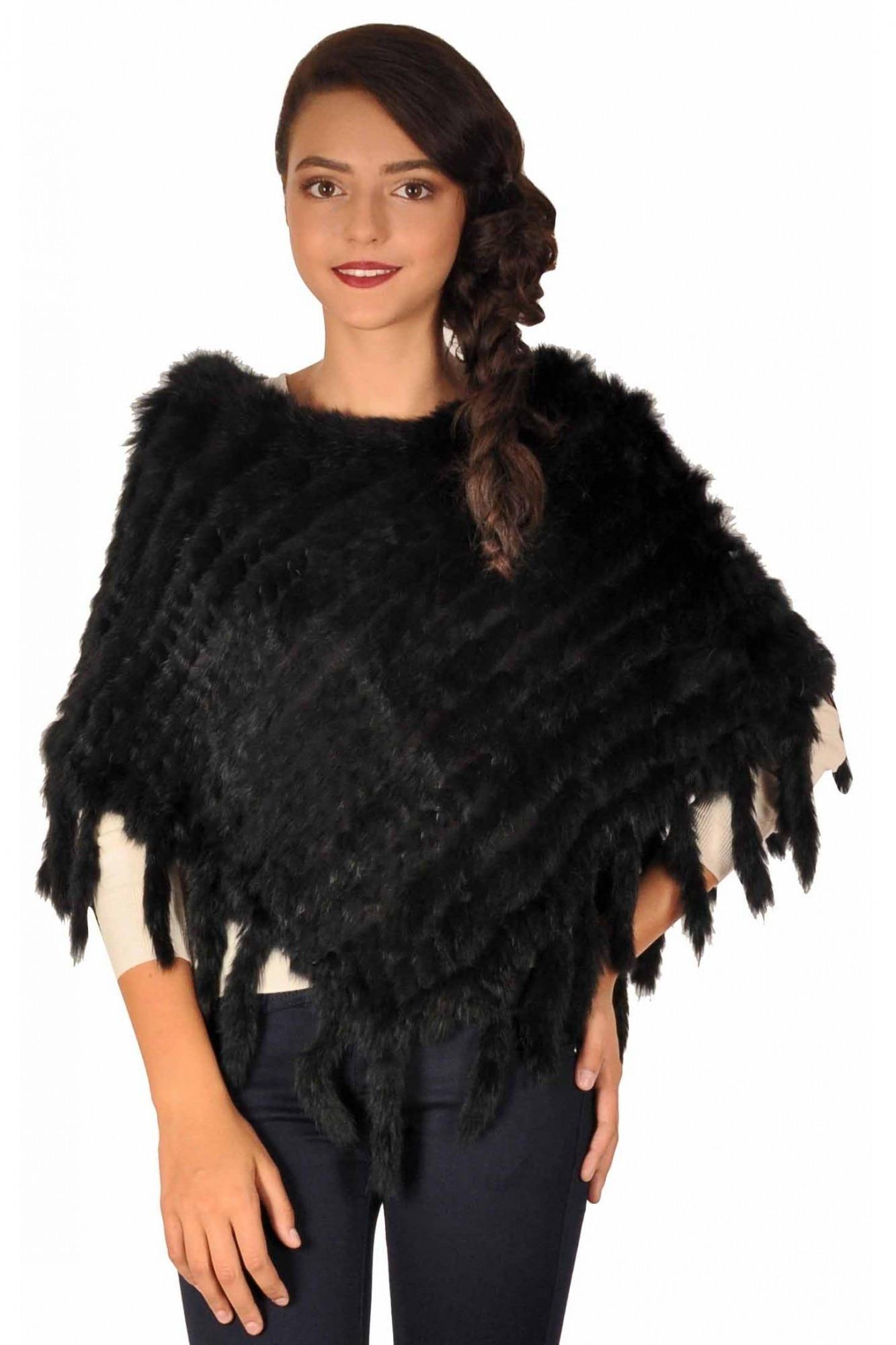 cel mai ieftin pret alta sansa oferte grozave 2017 Poncho negru elegant cu insertii blana naturala 021N de dama La Femme, 38 -  eMAG.ro