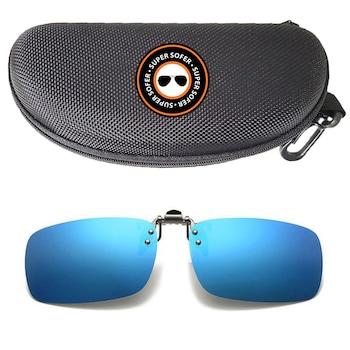 Lentile clip on polarizate pentru ochelari SUPERSOFER™ + toc inclus