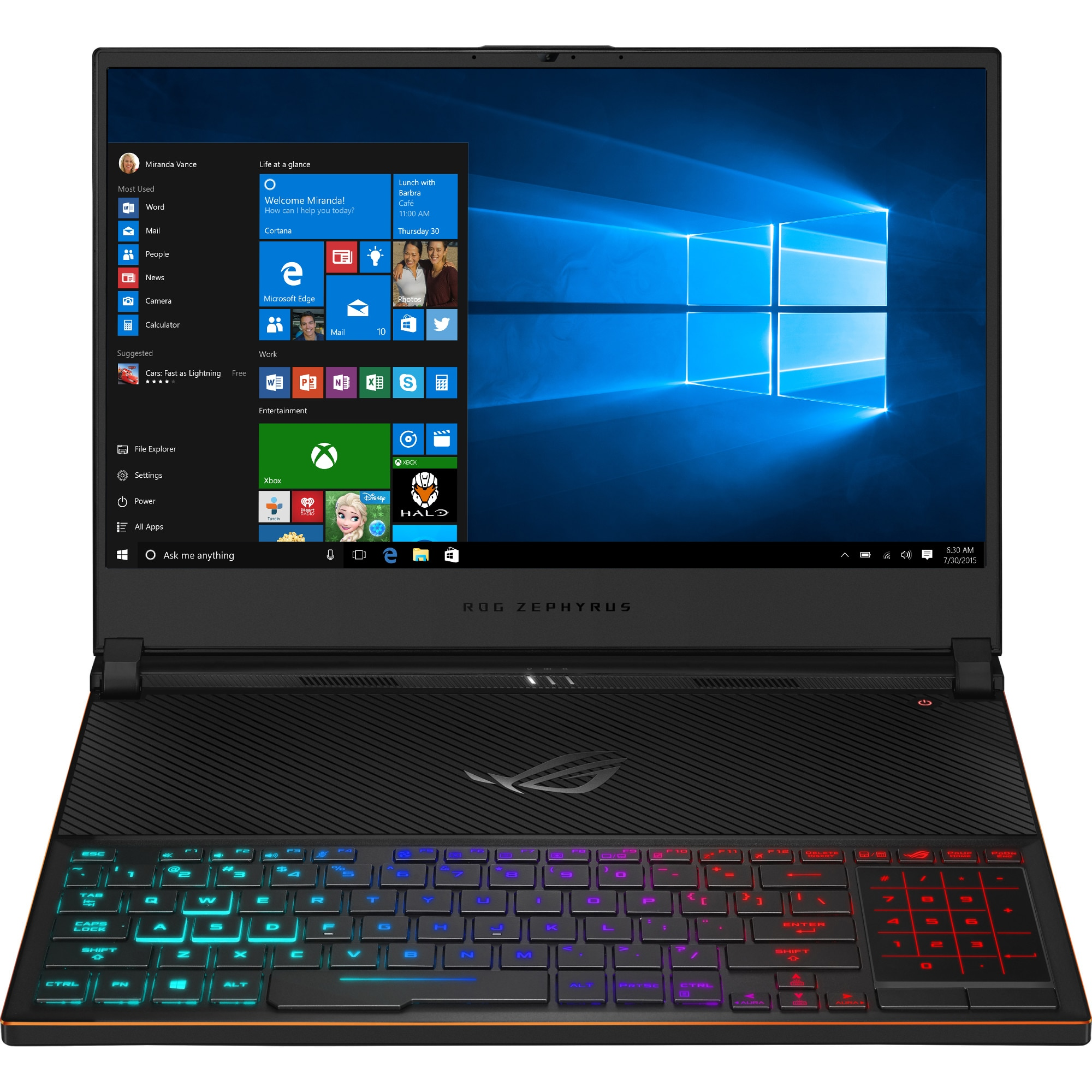 "Fotografie Laptop Gaming ASUS ROG Zephyrus S GX531GX cu procesor Intel® Core™ i7-8750H pana la 4.10 GHz, Coffee Lake, 15.6"", Full HD, IPS, 144Hz, 24GB, 512GB SSD, NVIDIA GeForce RTX 2080 8GB, Microsoft Windows 10, Black"