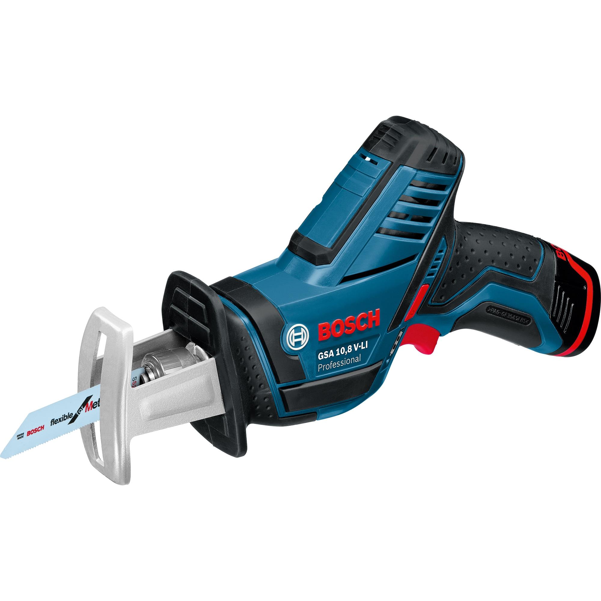 Fotografie Ferastrau sabie pe acumulator Bosch Professional GSA 12V-14 Solo, 65 mm adancime taiere lemn, 14.5 mm lungime cursa, 3000 curse/min, accesorii incluse, fara acumulator/incarcator