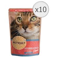 Мокра храна за котки Petkult, Стерилизирана с риба тон, 10 броя x 100 гр