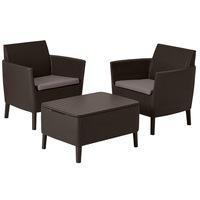 Set mobilier de balcon/gradina, Keter Salemo, 3 piese, masuta cafea- cutie depozitare, aspect ratan, maro, perne incluse