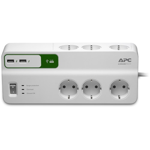 Fotografie Prelungitor cu protectie APC SurgeArrest Essential PM6U-GR, 6 prize, 2 x USB, Alb
