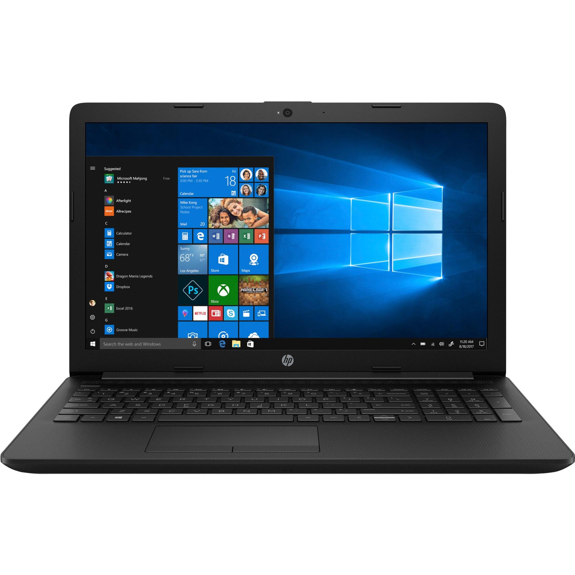 "Fotografie Laptop HP 15-da0182nq cu procesor Intel® Celeron® N4000 pana la 2.60 GHz, 15.6"", 4GB, 500GB, Intel® UHD Graphics 600, Microsoft Windows 10, Black"