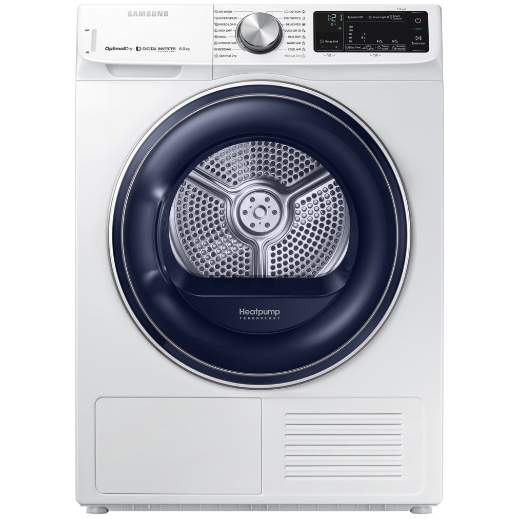 Fotografie Uscator rufe Samsung DV80N62532W/LE, Pompa de caldura, 8kg, Optimal Dry System, Smart Control, Lumina interior, Usa reversibila, Clasa A+++, Alb