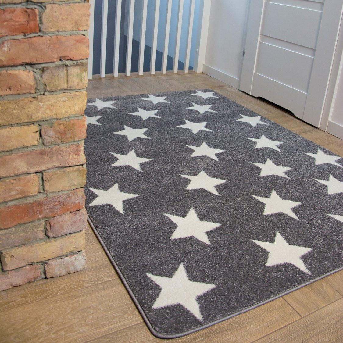 Dywan SKETCH FA68 szarobiały Gwiazdki Gwiazdy, 160x220 cm