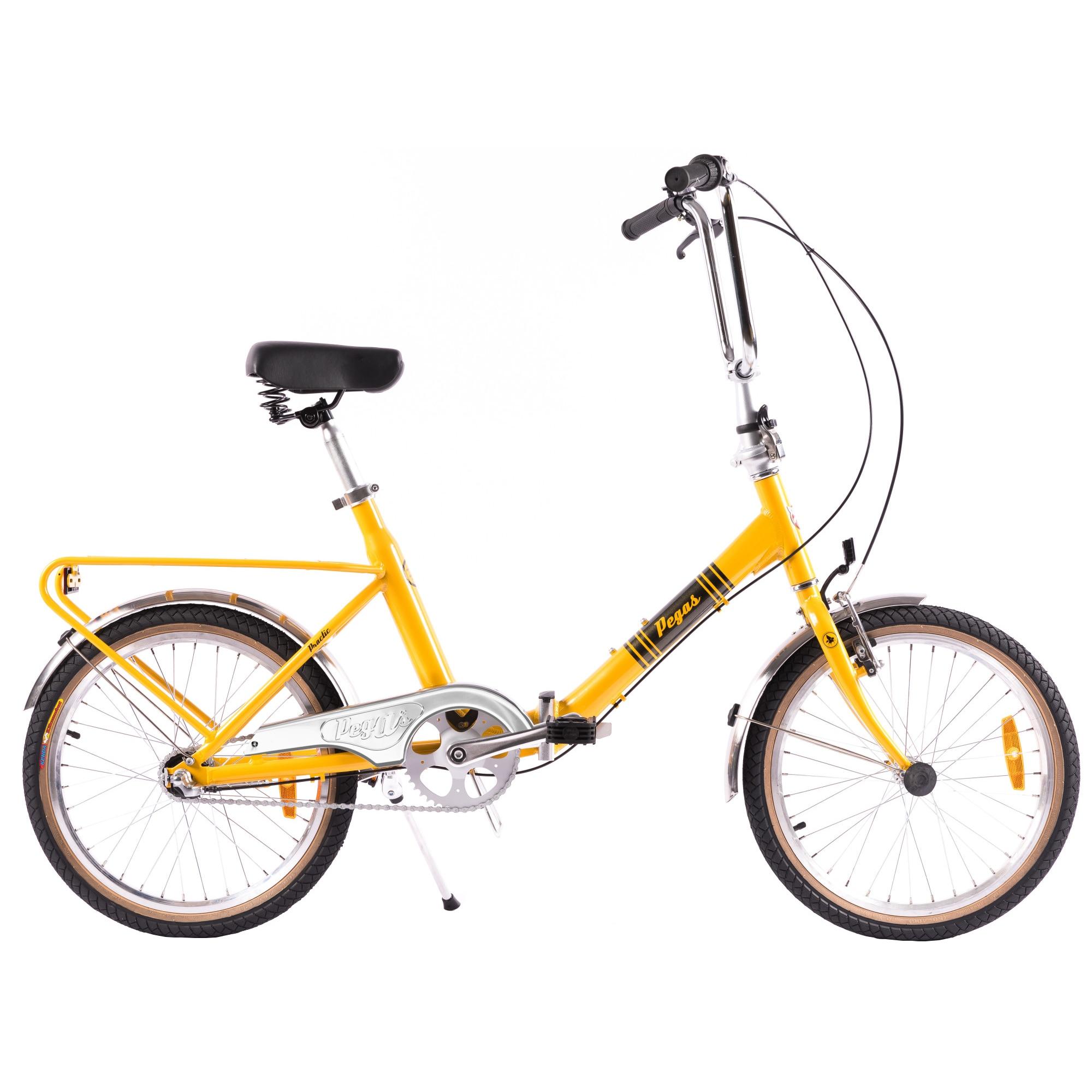 Fotografie Bicicleta pliabila Pegas Practic Retro aluminiu, Galben Bondar