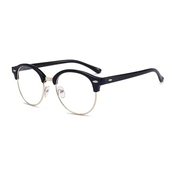 Ochelari - Rame cu lentile transparente Clubmaster Retro rotunde Negre - Argintiu, Negru