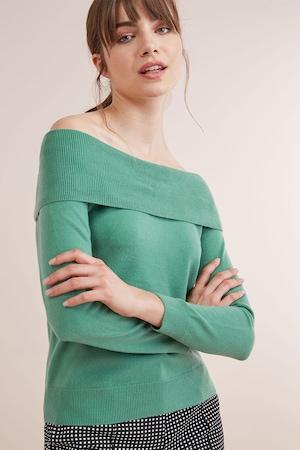 NEXT, Ejtett vállú pulóver bordázott szegélyekkel, Zöld, 8