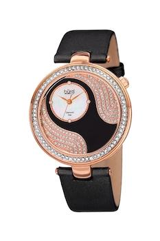BURGI, Аналогов часовник с кристали и диаманти, Черен