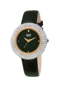 BURGI, Часовник с лачена кожена каишка, Тъмнозелен
