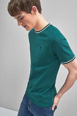 NEXT, Slim fit kerek nyakú póló, Zöld, M