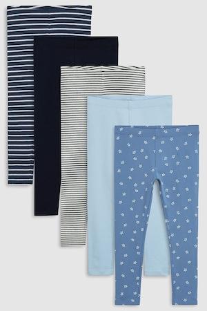 NEXT, Leggings szett - 5 db, Kék/Fekete/Szürke, 14Y Standard
