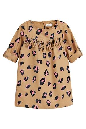 NEXT, Állatmintás bővülő fazonú ruha rojtokkal, Fekete/Barna, 9-12M Standard