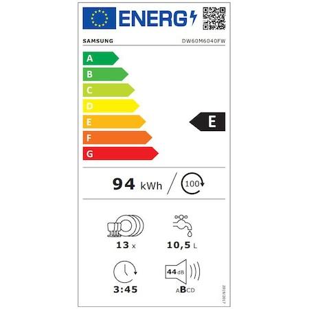 Съдомиялна Samsung DW60M6040FW/EC, 13 комплекта, Клас A++, 6 програми, LED дисплей, 60 см, Бяла