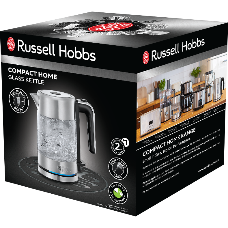 Fotografie Fierbator Russell Hobbs Compact Home Glass 24191-70, 2200 W, 0.8 L, Sticla, Design compact, Inox