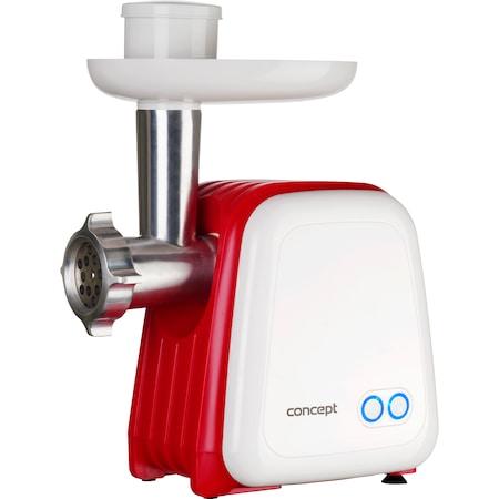 Masina de tocat carne Concept MM4300, 1500 W, 2 site, accesoriu 3in1 pentru rosii, fructe proaspete si carnati, 1.2 kg /min, Alb/Rosu