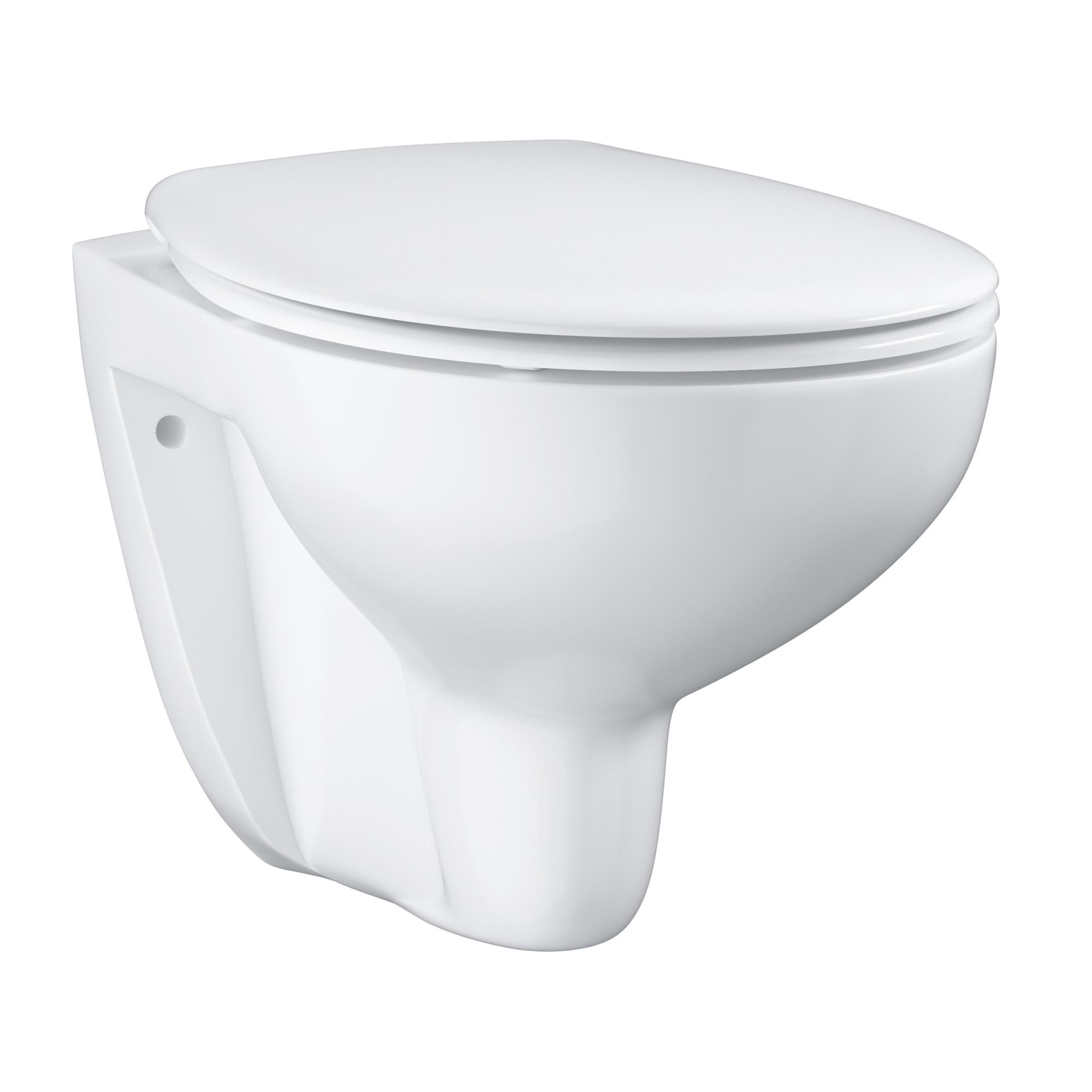 Fotografie Set Vas WC Grohe Bau 39351000, include capac SoftClose, montare suspendata, Rimless, evacuare orizontala, clatire prin jet apa, Alb