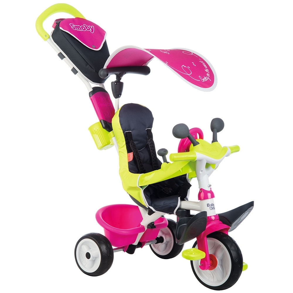 Fotografie Tricicleta Smoby Baby Driver Comfort, cu roti silentioase, roz