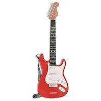 Elektromos gitár gitár szíjjal, piros