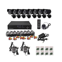 8 kamerás komplett megfigyelő kamerarendszer, 8db színes kamera, 24 infra LED, kül- és beltéri