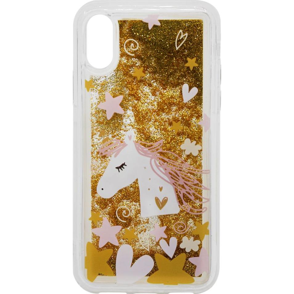 Fotografie Husa de protectie Lemontii Liquid Sand iPhone XS / X, Unicorn Glitter