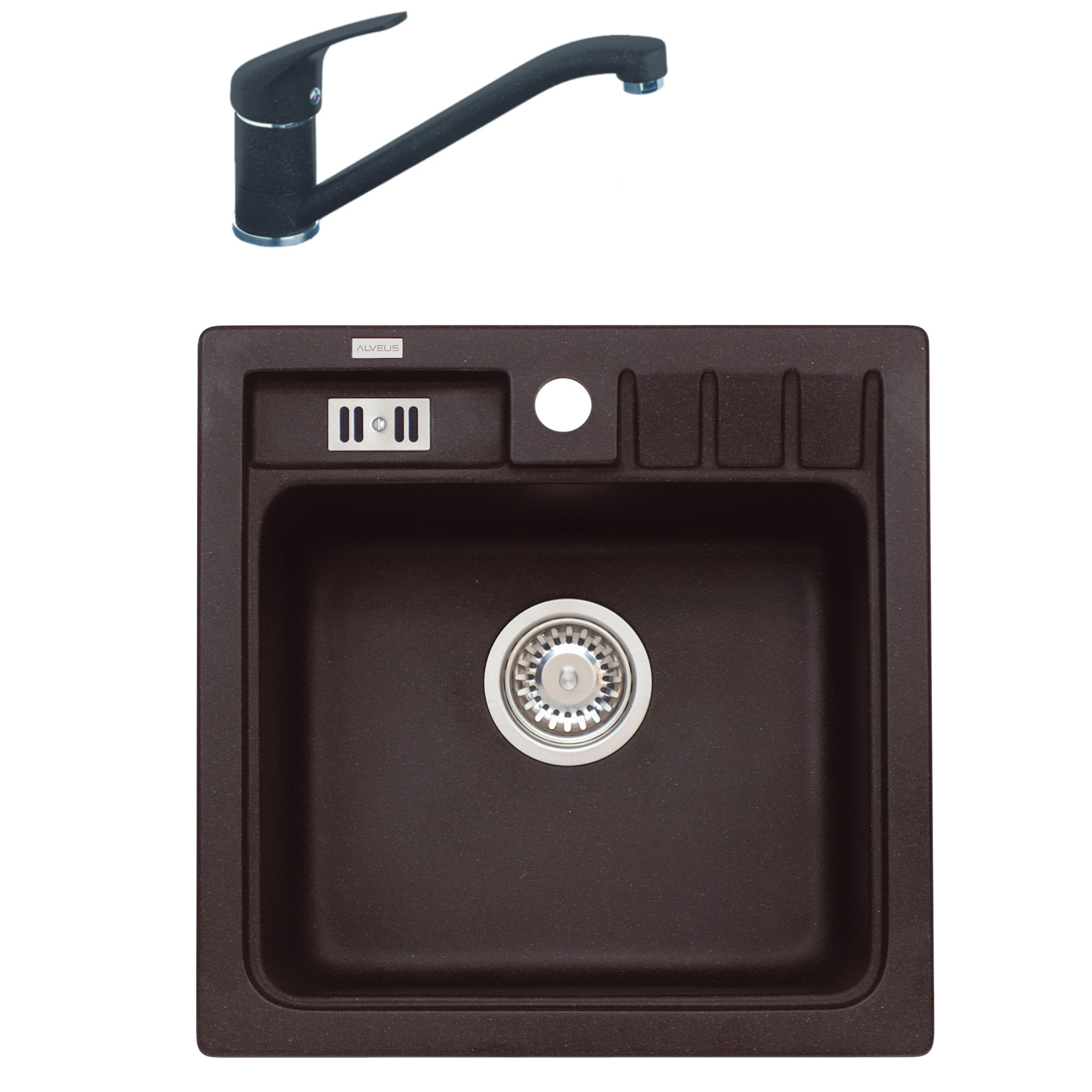 Fotografie Pachet chiuveta algranit Alveus Niagara 20 A91, 465 x 465 mm, adancime cuva 180 mm, material compozit + Baterie GM 210, Negru