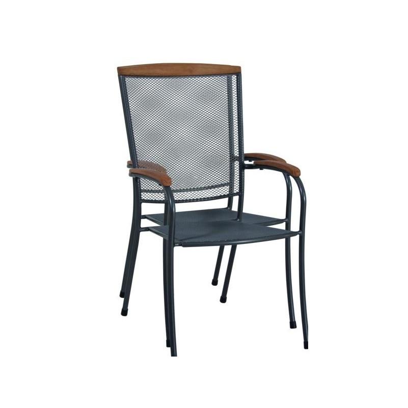 fém kerti szék fa karfával