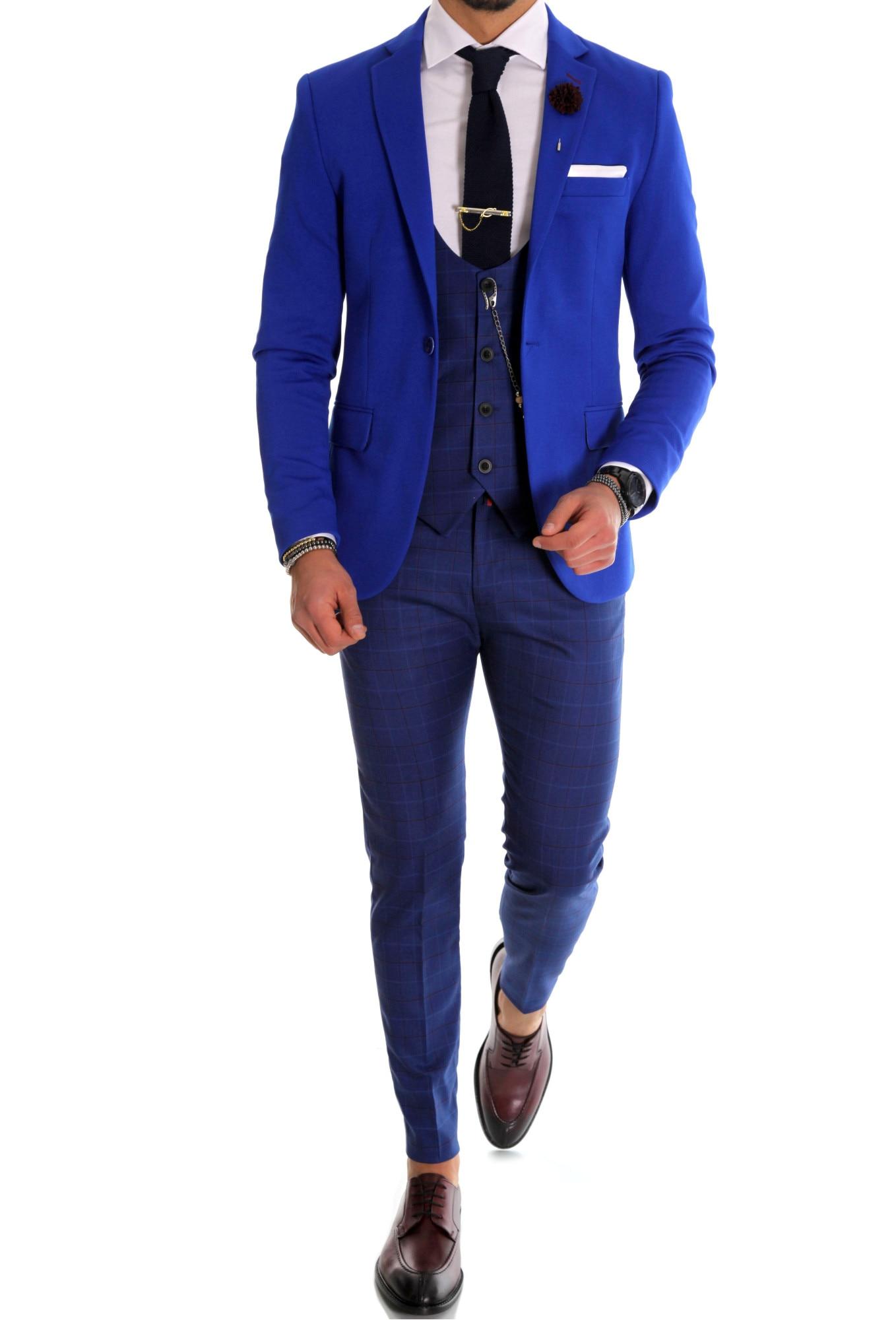 Costum office, albastru, sacou, vesta, pantaloni, elegant, slim fit, pentru  barbati, 48 - eMAG.ro