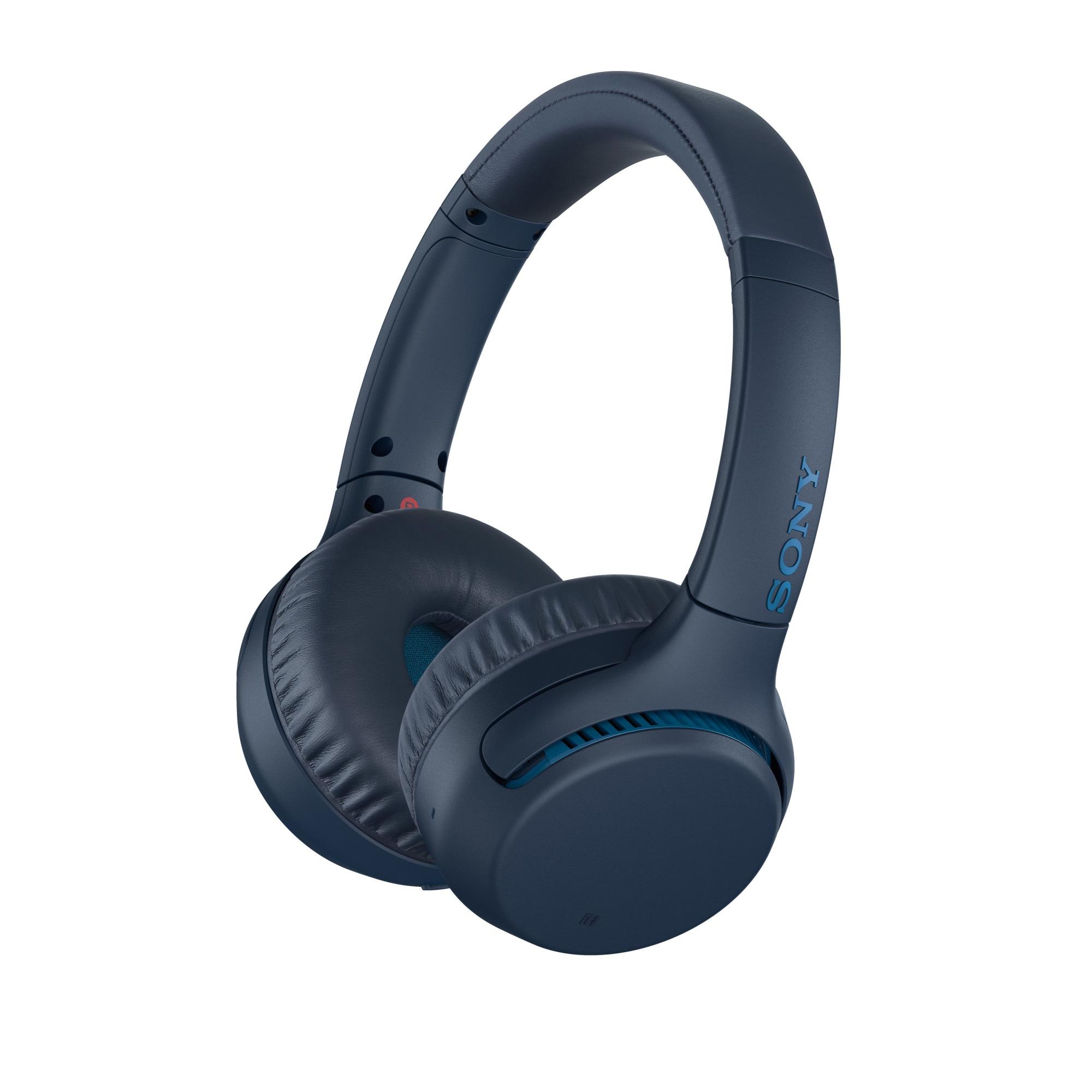 Fotografie Casti audio Sony WH-XB700L, Extra Bass, Google Assistant, Wireless, Bluetooth, NFC, Microfon, Autonomie 30 ore, Albastru