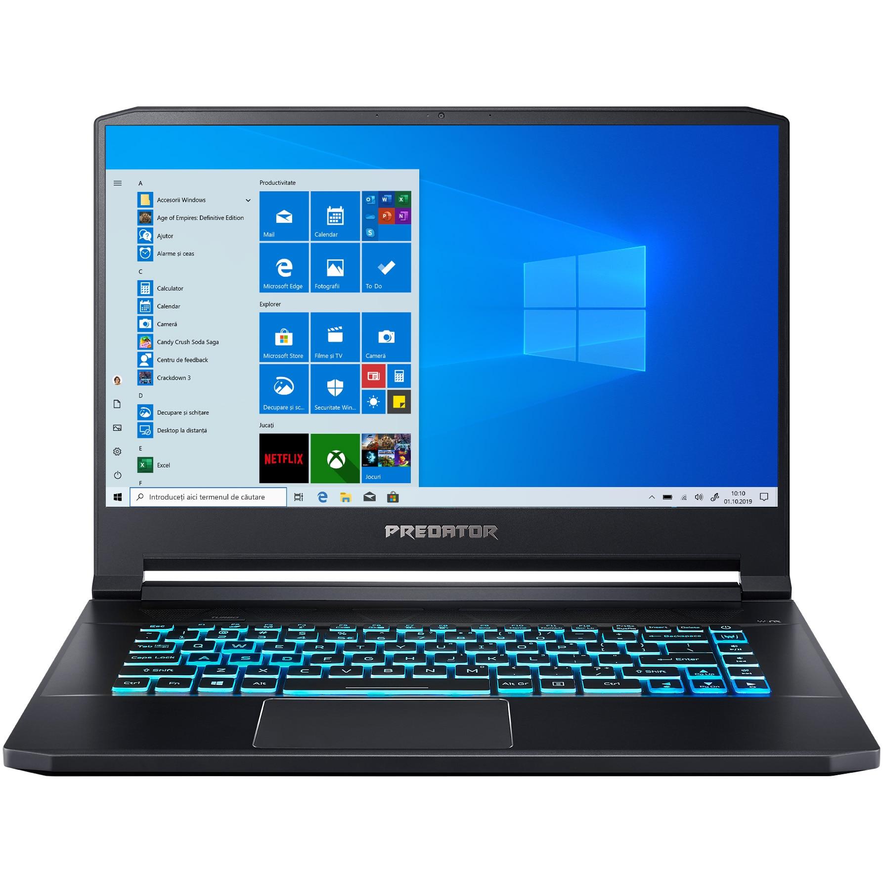 "Fotografie Laptop Gaming Acer Predator Triton 500 cu procesor Intel® Core™ i7-8750H pana la 4.10 GHz, Coffee Lake, 15.6"", Full HD, IPS, 144Hz, 32GB, 2 x 512GB SSD - RAID , NVIDIA® GeForce RTX™ 2080 8GB, Microsoft Windows 10, Abyssal Black"