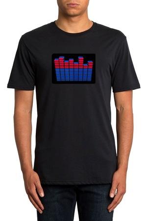 GlowMania világító póló, Kétszínű formájú felirattal, fekete, Fekete