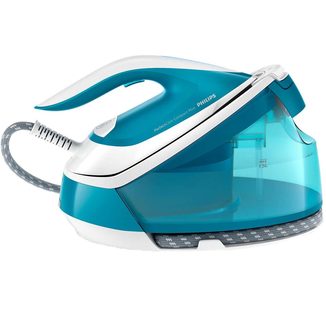 Fotografie Statie de calcat Philips PerfectCare Compact Plus GC7920/20, 2400 W, OptimalTemp, abur 120 g/min, Smart Calc Clean, talpa SteamGlide, 1.5 L, Albastru