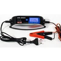 Global akkumulátortöltő , okos automata töltő , 6V-12V 4A AC20V-240V 50/60HZ 60W LCD kijelzővel . HB-ZN04