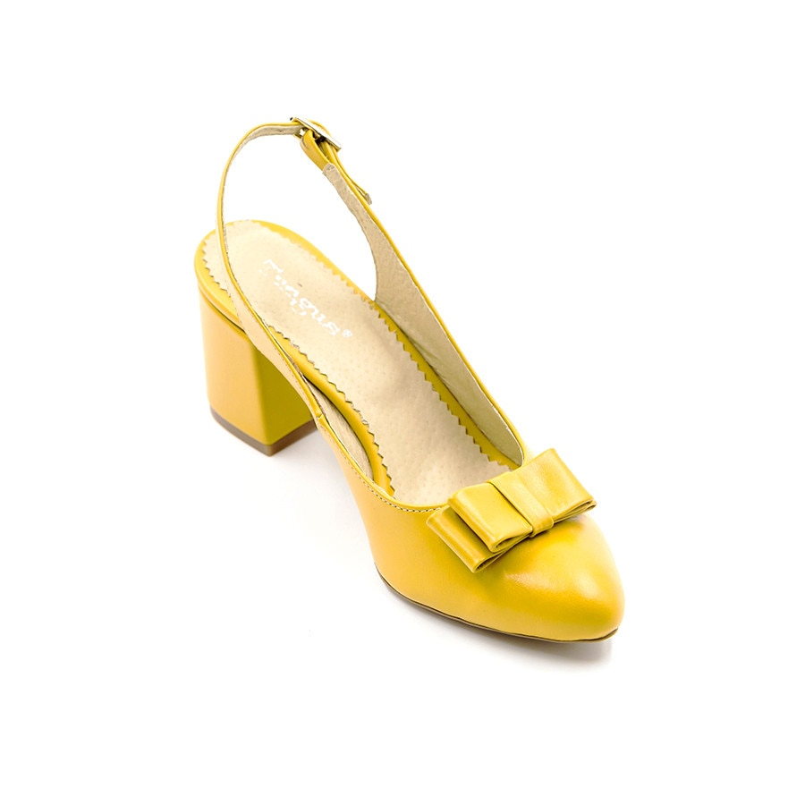 en-gros online pe picioare imagini din cea mai bună vânzare Pantofi clasici din piele box galben cu toc trapez de 6 cm, Tungus, marime  34 EU - eMAG.ro