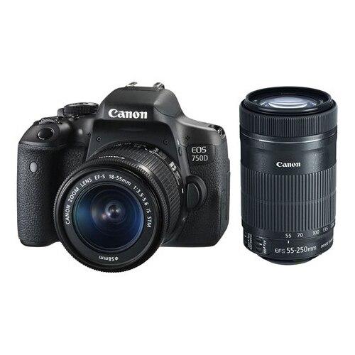 Fotografie Aparat foto DSLR Canon EOS 750D, 24.2MP, Black + Obiectiv EF-S 18-55mm IS STM + EF 55- 250 IS STM