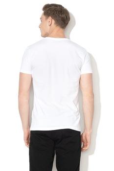 Pepe Jeans London, Logómintás V-nyakú póló, Fehér