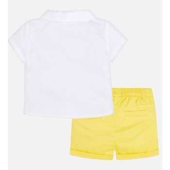 Set camasa si pantaloni scurti Mayoral pentru bebe nou-nascut, Alb/Galben