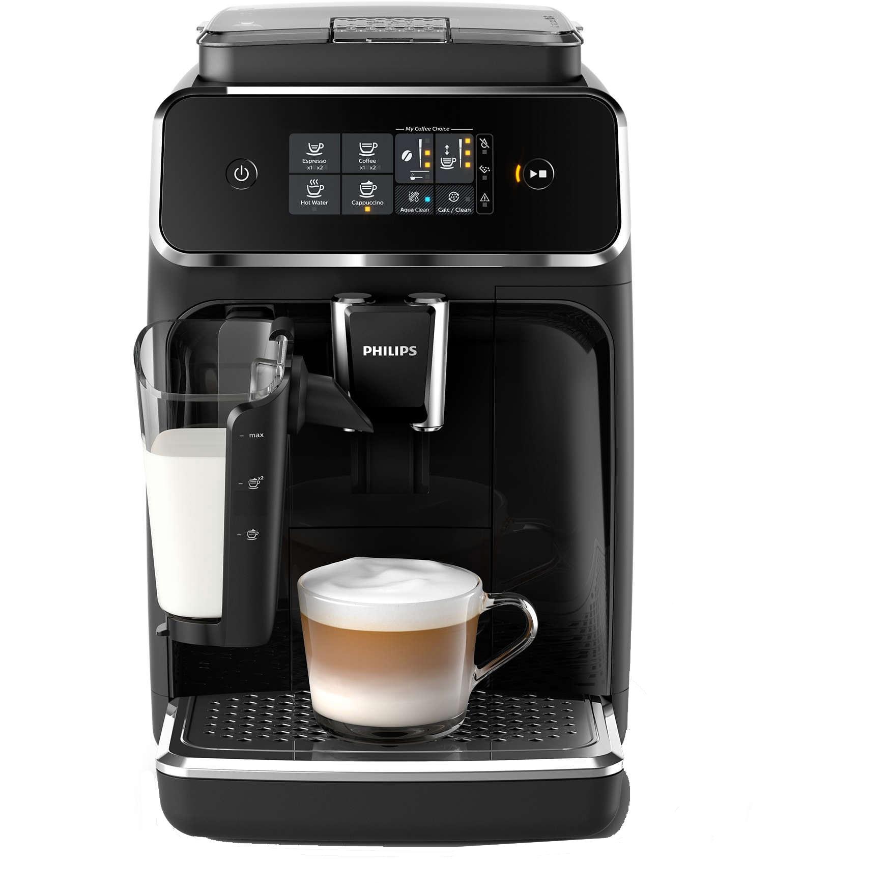 Fotografie Espressor automat Philips EP2231/40, sistem LatteGo, 3 bauturi, filtru AquaClean, rasnita ceramica, optiune cafea macinata, ecran tactil, Negru