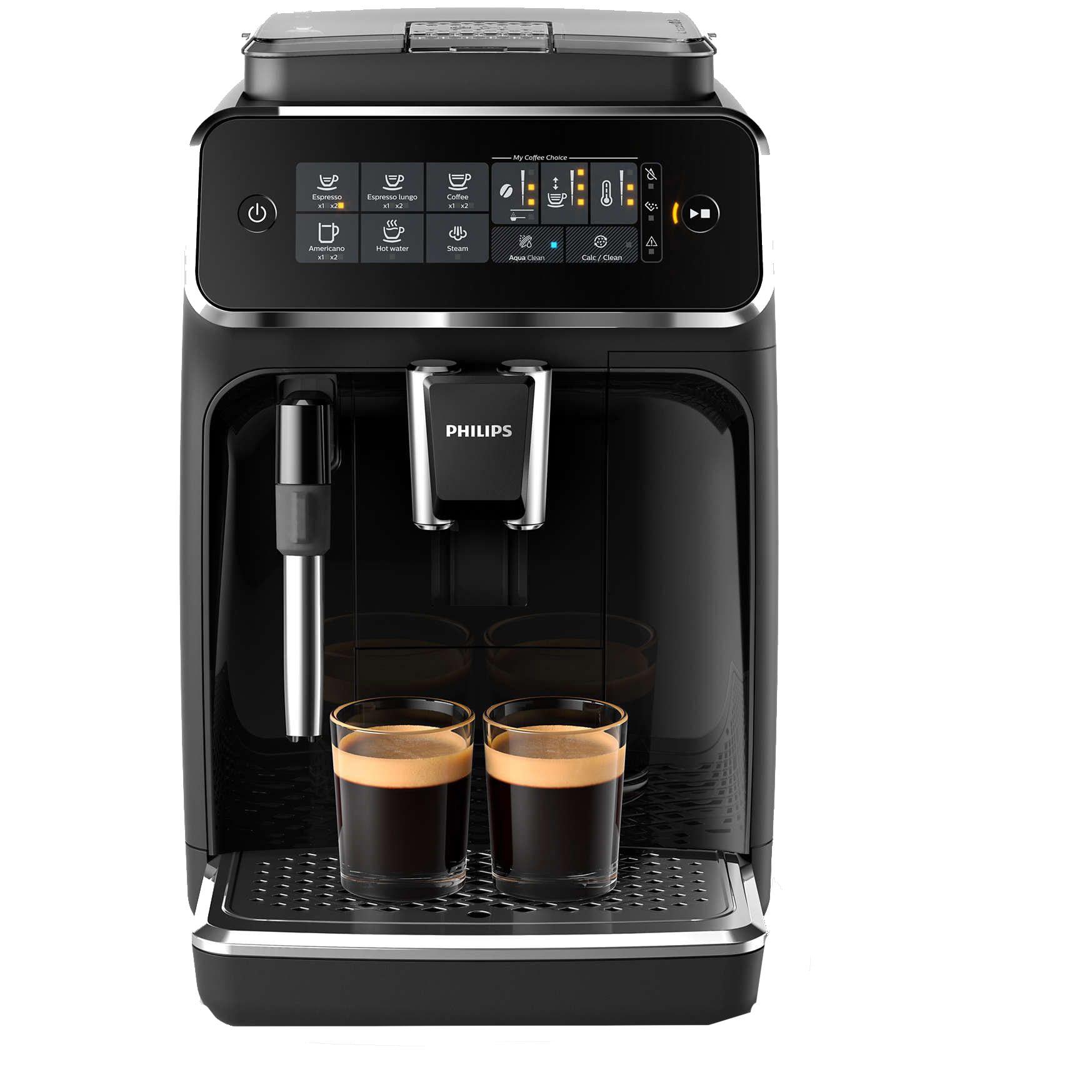 Fotografie Espressor automat Philips EP3221/40, sistem de spumare a laptelui, 4 bauturi, filtru AquaClean, rasnita ceramica, optiune cafea macinata, ecran tactil, Negru