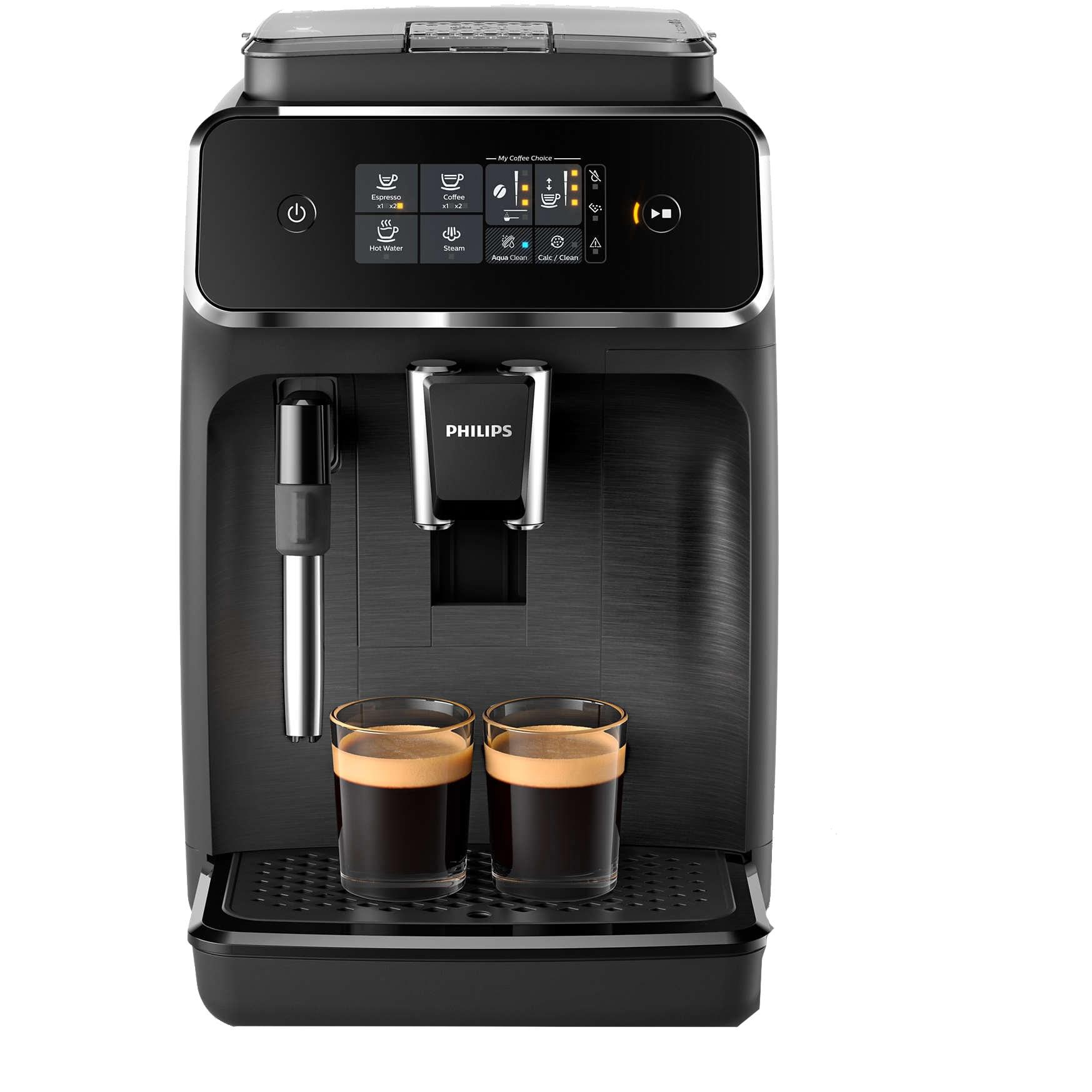 Fotografie Espressor automat Philips EP2220/10, sistem de spumare a laptelui, 2 bauturi, filtru AquaClean, rasnita ceramica, optiune cafea macinata, Negru