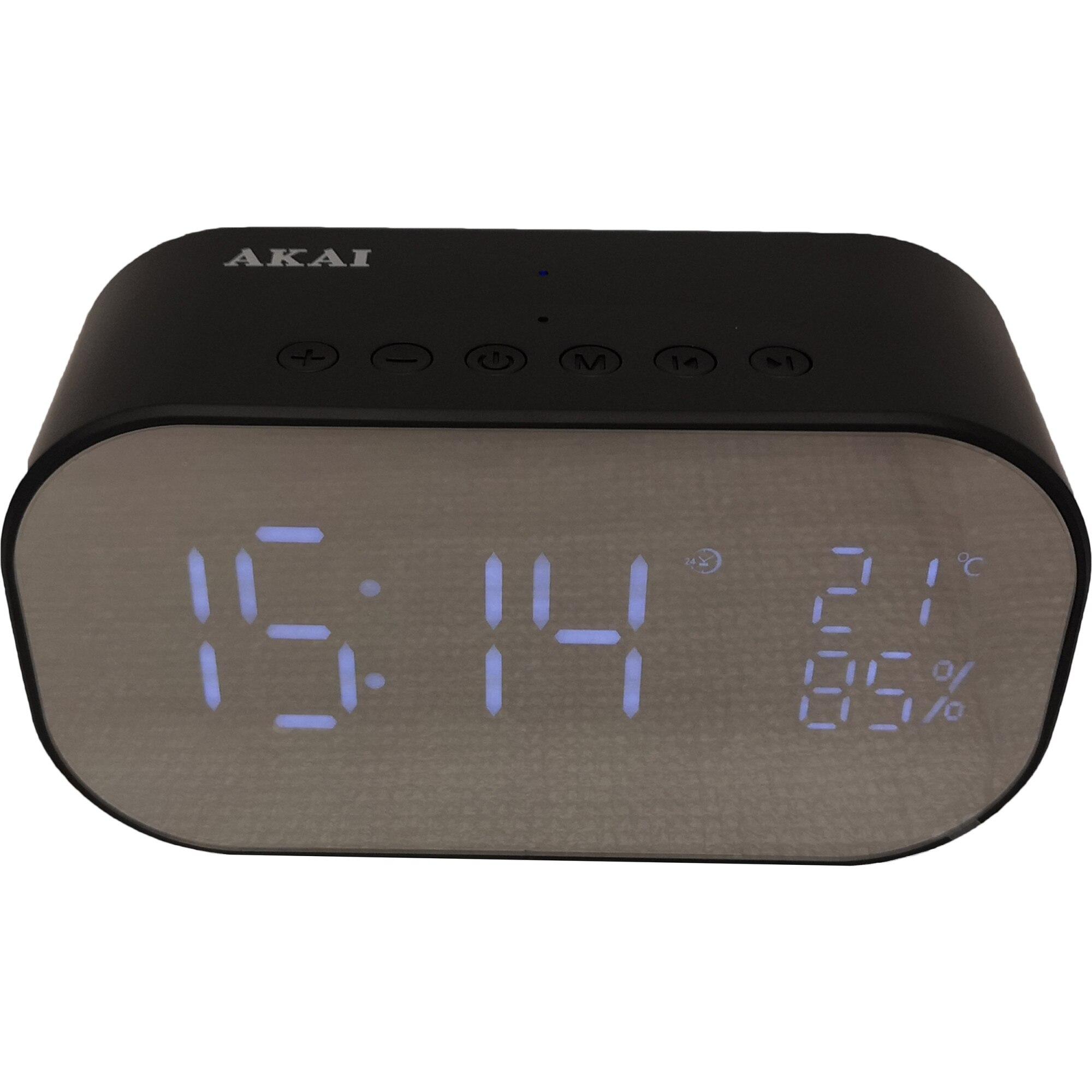Fotografie Radio ceas Akai ABTS-S2 cu BT, radio FM, carcasa aluminiu, baterie 1800 mAh, Negru